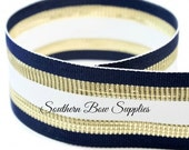 1.5 inch Grosgrain Ribbon-------20 Yards-----Stripes-----Navy White Gold------Hair bow Making Supplies