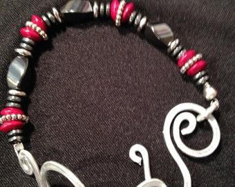 Pounded wire, Magnetic Hematite bangle braclet, black and color beads