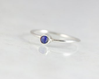 September Birthstone - Birthstone Rings For Mothers - Stacking Rings for Mom - Lapis Lazuli Ring - Mom Ring - Stackable Birthstone Rings