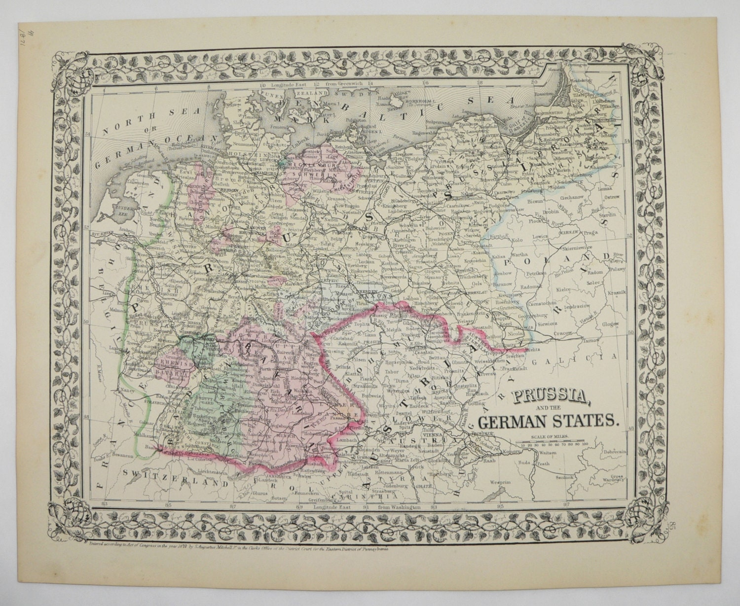 Antique Germany Map Prussia German States Map 1871 Mitchell