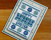 Happy Easter Floral Handmade Cross Stitch Card in Teal and Blue