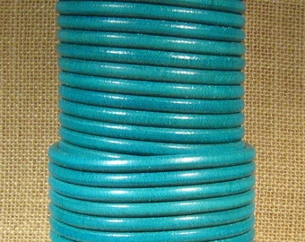 Premier Italian Leather - 5mm Round - Teal - Choose Your Length