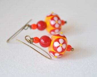 Red Orange Flower Earrings, Lampwork Glass Earrings, Floral Earrings, Bright Color Earrings