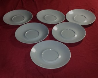 Set of 6 Vintage Texas Ware Blue Melamine Saucers / 1950s PMC Texas Ware Dusty Blue Plastic Saucers