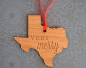 VERY MERRY Engraved Texas Ornament