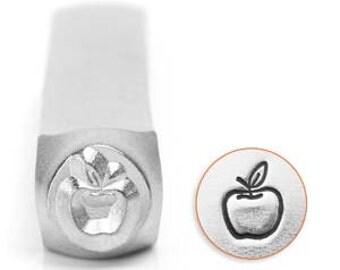 Apple Design Stamp 6mm - Handstamping Metal Design Stamp - Low Shipping!