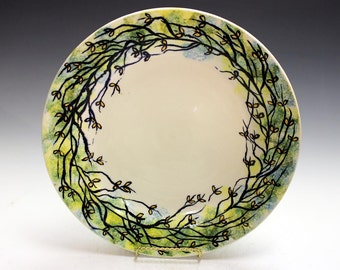 Corporate or wedding gift, porcelain platter hand made and decorated by Lazaroff