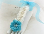 Sandals, Barefoot, Foot Jewelry, Beach, Flats, Ivory, Blue, Turquoise, Pearls, Lace, Something Blue, Destination, Elegant