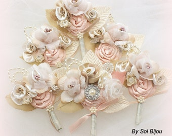 Boutonnieres, Ivory, Tan, Beige, Champagne, Blush, Groomsmen, Groom, Corsages, Mother of the Bride, Crystals, Pearls, Elegant Wedding