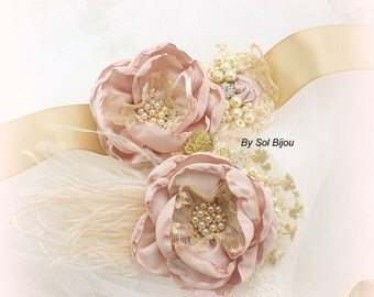 Wedding Sash, Hair Clip, Rose, Blush, Gold, Champagne, Elegant Wedding, Fascinator, Lace, Ostrich Feathers, Pearls, Crystals, Vintage Style
