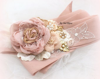 Pink Sash, Bridal, Blush, Dusty Rose, Champagne, Tan, Cream, Gold, Ivory, Feathers, Vintage Brooch, Lace, Crystals, Pearls, Vintage Style
