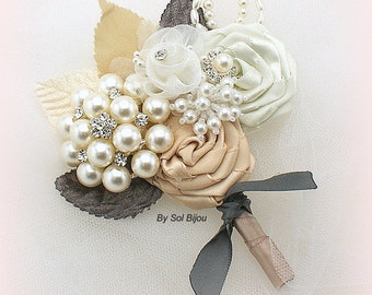 Boutonniere, Ivory, Tan, Pewter, Charcoal, Gray, Champagne, Corsage, Groom, Groomsmen, Elegant Wedding, Button Hole, Pearls, Crystals