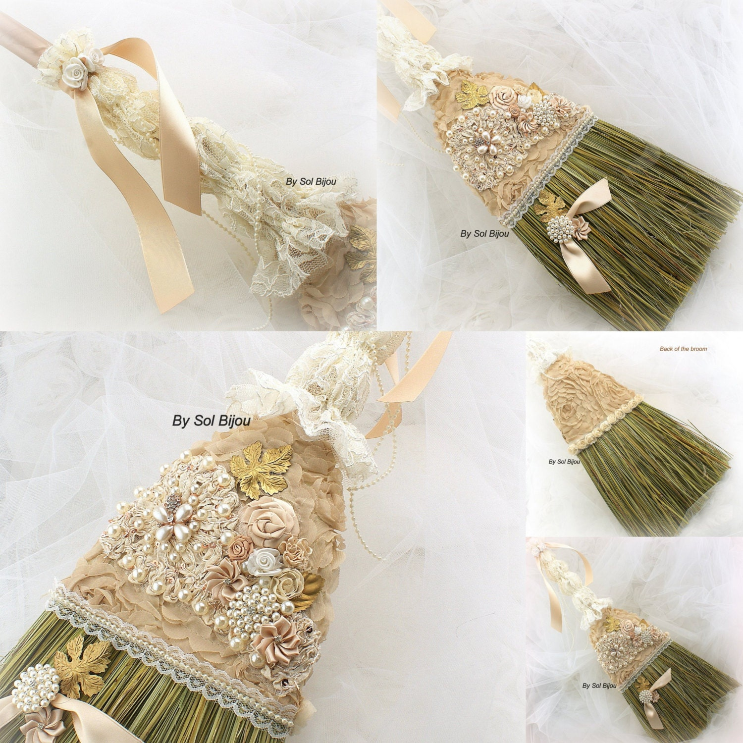 wedding broom bridal jumping the broom in ivory gold by solbijou
