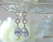 Long Peach earrings, peach crystal earrings, bridesmaid earrings, Nude Peach earrings, peach and silver, blush earrings, peach wedding