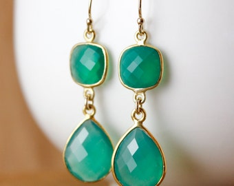 Gold Green Onyx Teardrop Earrings - May Birthstone - Emerald