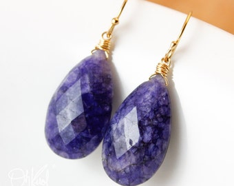 Blue Sapphire Quartz Earrings - Teardrop Earrings - 14K GF, Classic