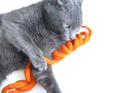 Wool Cat Toy  - Felted Swirl Rope - Eco Friendly - Kitten Play - Fun