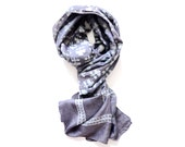 SCARF scarves 100% Silk - charcoal, dark grey - Hand Block Print naturally dyed, Fashion Accessories women, for her - BOTI BLACK
