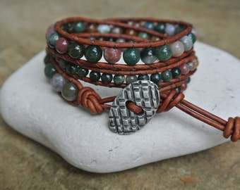LuLu Jade Beaded Leather Wrap Bracelet