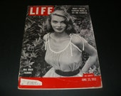 Vintage Life Magazine June 23 1952 - Pretty Model on Cover - Art  Scrapbooking Paper Ephemera