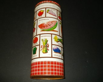 Vintage 1960-70s Metal Tin Container with Vegetable Illustration - Kitchen Accessories, Storage, Cool Collectible
