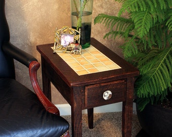 "Side Table, Tile Centerpiece, ""Tequila Sunrise "", Reclaimed Wood, Dark Brown Wax Finish - Handmade"