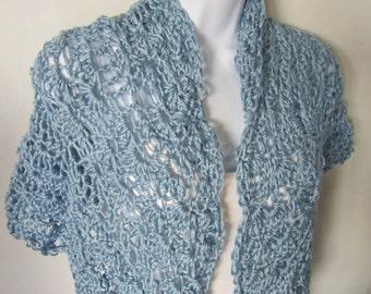 Crocheted  Blue Shawl, Wrap