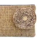 Chocolate Brown Clutch Handbag with Khaki Fabric Flower - READY TO SHIP