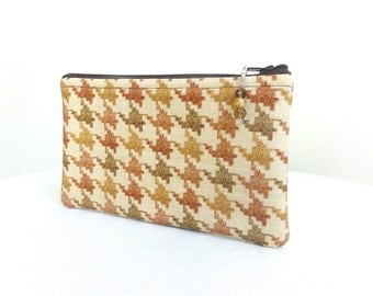 Houndstooth Zippered Bag with Beaded Pull - READY TO SHIP