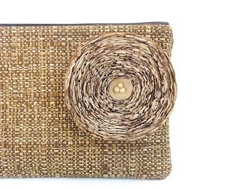 Chocolate Brown Clutch Handbag with Khaki Fabric Flower - READY TO SHIP