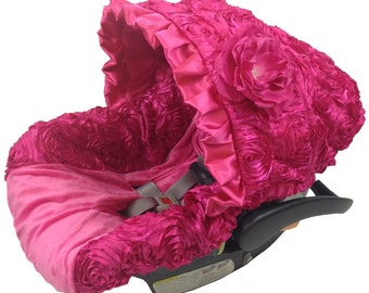 Infant Car Seat Cover, Baby Car Seat Cover, Hot Pink 3D Roses Baby Seat Cover, Affordable Infant Car Seat Cover, Baby Girl infant car covers