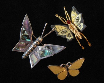 Three Butterfly Pins, Sterling, Guilloche, Damascene