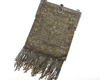 Antique Steel Cut Beaded Purse Vintage 1920s Beaded Flapper Bag with Ornate Frame