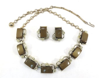 Brown Pearl Luctie Choker Necklace and Earrings Vintage 1950s Mid Century Fall Necklace Set - FREE Domestic Shipping