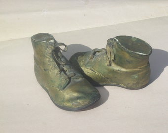 Vintage Bronze Covered and Filled Baby Shoes / Nursery Decor