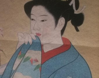 Vintage Japanese Print Wall Hanging on Cloth by Shinsui Ito for Framing