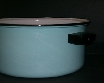 Marble Design Light Blue Enamelware Pot