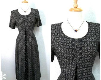 Vintage 80s Dress Ethnic Black & White Floral Notched Rayon Dress Size Medium