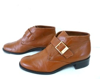 Vintage Ankle Boots Etienne Aigner Brown Leather Brass Buckle Size 7M