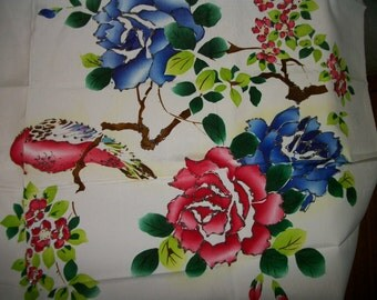 Chinese silk handpainted  embroidered fabric panel on Sale Was 12 now only 5.5