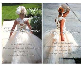 Champagne Flower Girl Dress with lace overlay! Ivory Dress. Corset, TUTU skirt. Train & hair clip. Size 6m-10 Girls.
