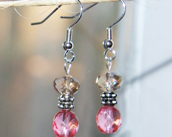 Earrings - little sparkly gold and fucshia earrings
