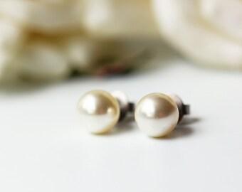 Cream White Pearl Titanium Post Earrings Swarovski Light Creamrose Simple Everyday Bridesmaid Studs