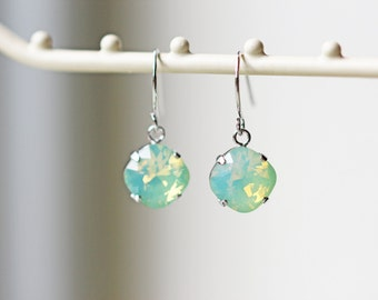 Pale Mint Opalescent Swarovski Crystal Earrings Chrysolite Opal Titanium Silver Dangle Earrings
