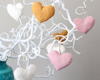 Heart-Shaped Hanging Ornaments in Cotton Fabric, Scented Ornaments, Hearts