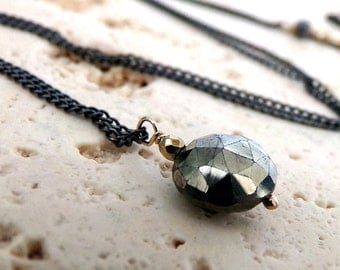 Pyrite Necklace, Gold Pyrite Necklace, Sterling Silver, Metallic, Mixed Metals, Gold Necklace - Simple Moon