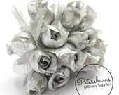 12 Small Metallic Silver Fabric Rosebud Flower Picks for Millinery Hat Trim