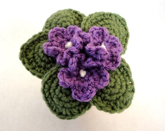 Crochet African Violet Fake Amigurumi Plant Home Decor Small