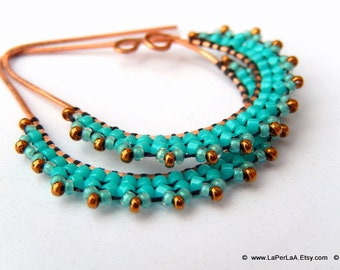 ETRUSCAN Filigree Lace - Earrings - turquoise and copper accents - on copper earwire