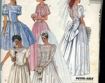 McCalls 4113 Vintage 80s Wedding Gown and Bridesmaid pattern - Size 6 OR 8 UNCUT